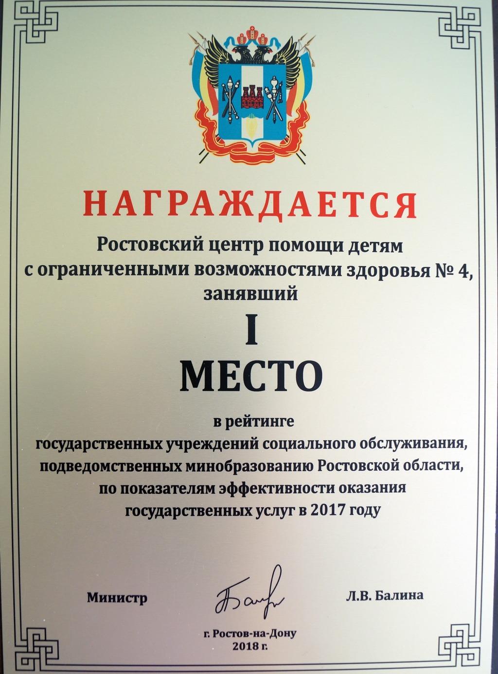 Диплом 1 место, 2017год